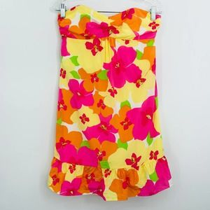 Lilly Pulitzer strapless floral mini dress 5.3